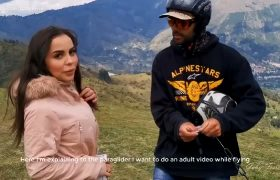 Gaby Ferrer – Paragliding With The Instructor Controlling Her Toy