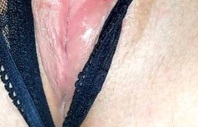 Girlfriend's really dripping wet pussy in close-up