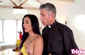 Jaye Summers Gets Her Throat Stretched For Choir By The Priest!