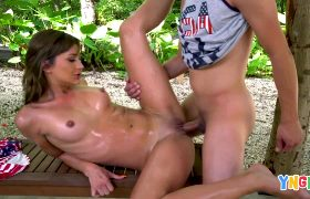 Pumping Ana Rose's Shaved Pussy On A Park Bench