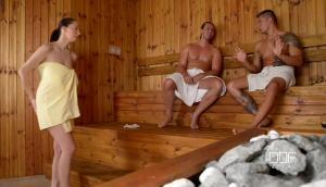 Lucie Wilde DDF Sauna Threesome Fucking